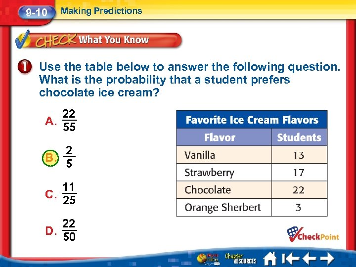 9 -10 Making Predictions Use the table below to answer the following question. What