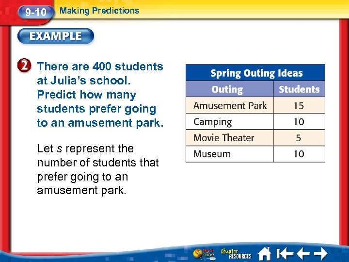 9 -10 Making Predictions There are 400 students at Julia's school. Predict how many