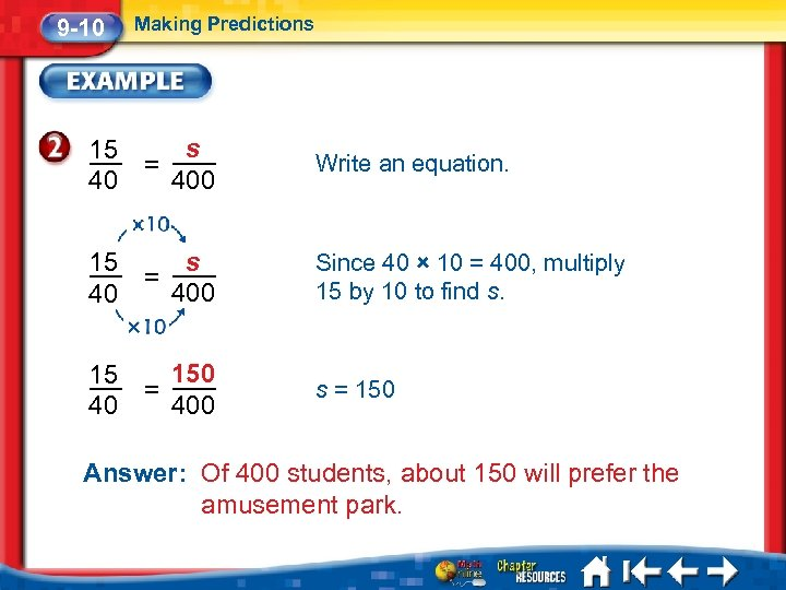 9 -10 Making Predictions s 400 15 40 = 15 40 s = 400