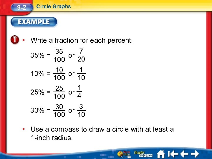 9 -2 Circle Graphs • Write a fraction for each percent. 7 35 35%