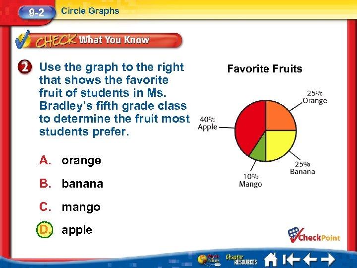 9 -2 Circle Graphs Use the graph to the right that shows the favorite