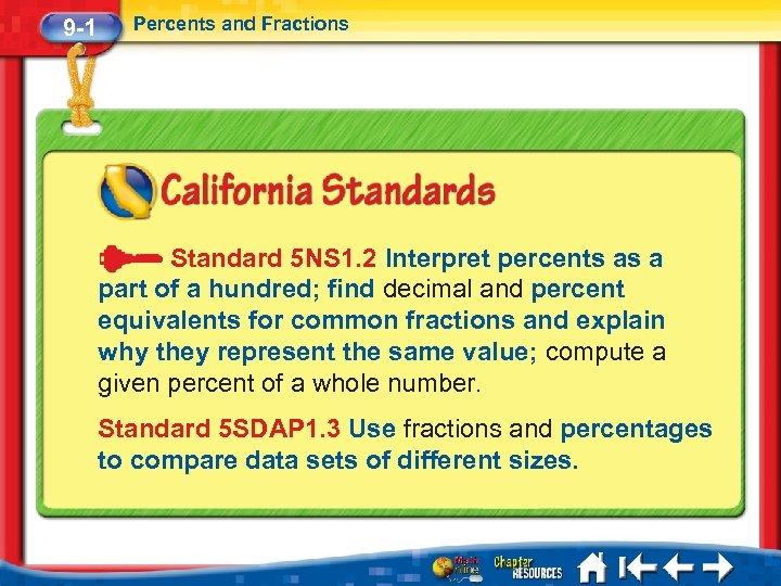 9 -1 Percents and Fractions Standard 5 NS 1. 2 Interpret percents as a