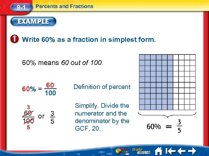 Percents and Fractions 9 -1 Write 60% as a fraction in simplest form. 60%