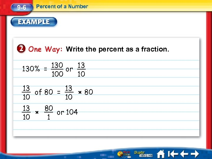 9 -6 Percent of a Number One Way: Write the percent as a fraction.