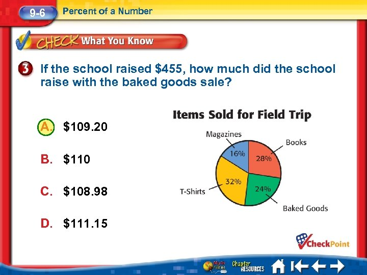9 -6 Percent of a Number If the school raised $455, how much did