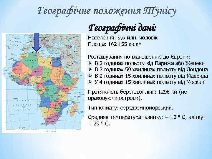 Географічні дані: Населення: 9, 6 млн. чоловік Площа: 162 155 кв. км Розташування по