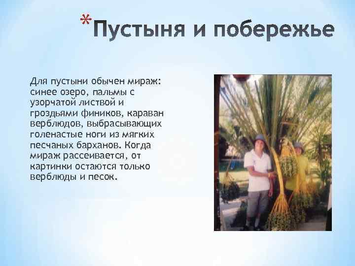 * Для пустыни обычен мираж: синее озеро, пальмы с узорчатой листвой и гроздьями фиников,