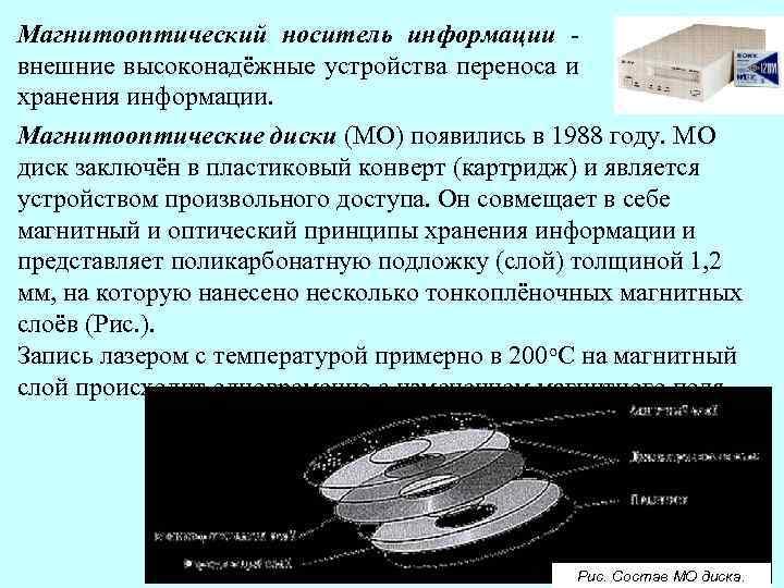 Магнитооптический носитель информации внешние высоконадёжные устройства переноса и хранения информации. Магнитооптические диски (МО) появились