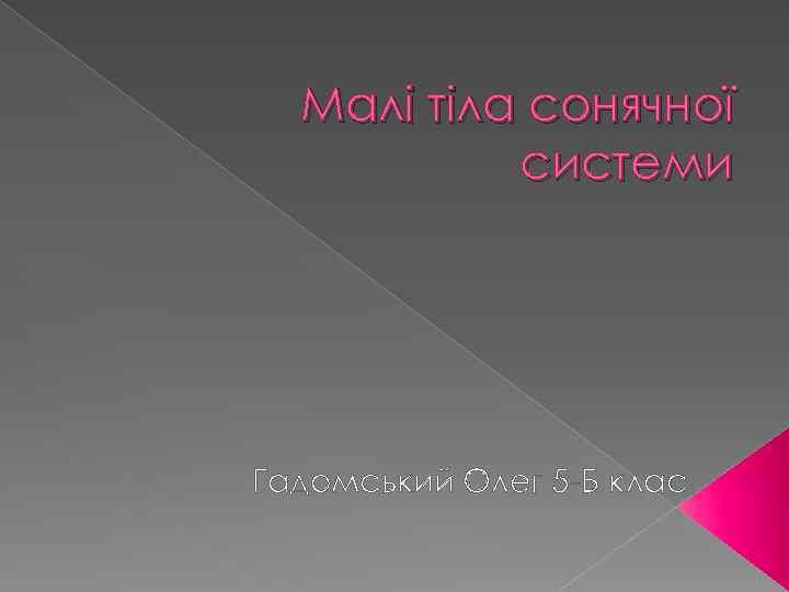 Малі тіла сонячної системи Гадомський Олег 5 -Б клас