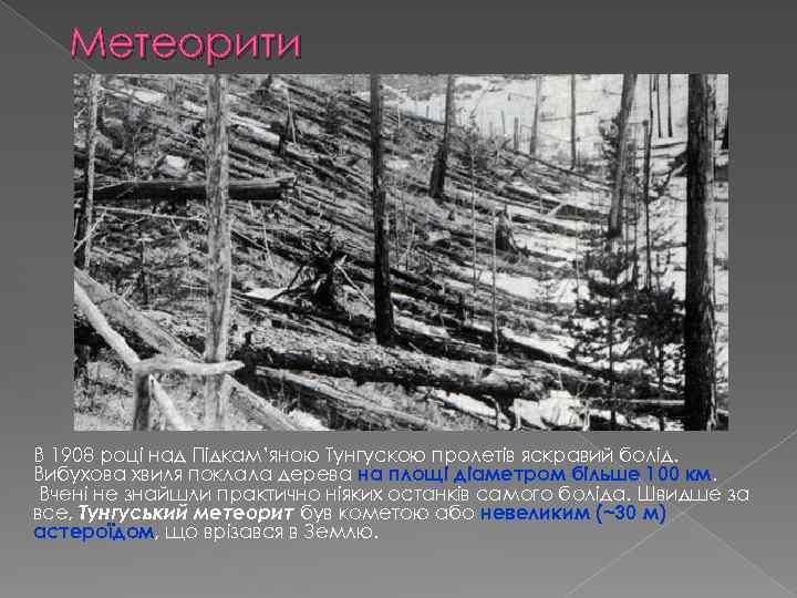 Метеорити В 1908 році над Підкам'яною Тунгускою пролетів яскравий болід. Вибухова хвиля поклала дерева