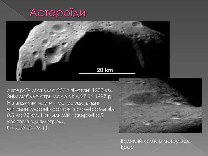 Астероїди Астероїд Матільда 253 з відстані 1200 км. Знімок було отримано з КА 27.