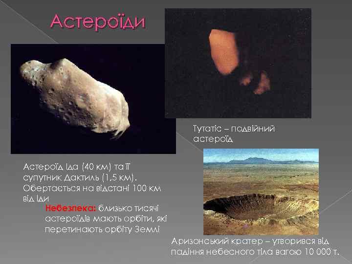 Астероїди Тутатіс – подвійний астероїд Астероїд Іда (40 км) та її супутник Дактиль (1,