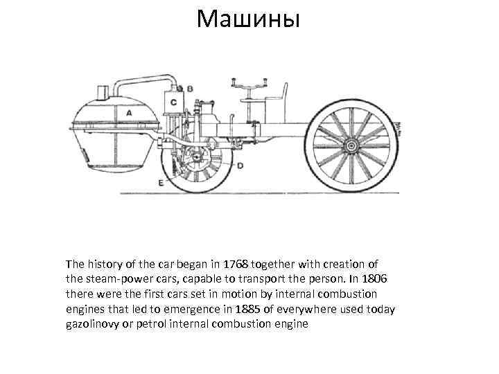 Машины The history of the car began in 1768 together with creation of the