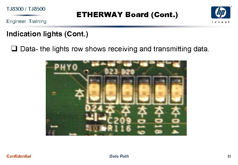 TJ 8300 / TJ 8500 Engineer Training ETHERWAY Board (Cont. ) Indication lights (Cont.