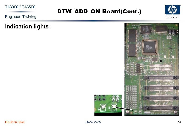 TJ 8300 / TJ 8500 Engineer Training DTW_ADD_ON Board(Cont. ) Indication lights: Confidential Data