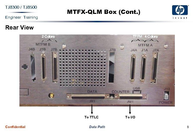 TJ 8300 / TJ 8500 MTFX-QLM Box (Cont. ) Engineer Training Rear View 2