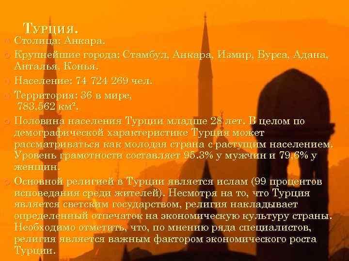 ТУРЦИЯ. Столица: Анкара. Крупнейшие города: Стамбул, Анкара, Измир, Бурса, Адана, Анталья, Конья. Население: 74