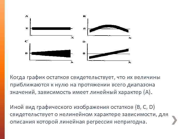 Когда график остатков свидетельствует, что их величины приближаются к нулю на протяжении всего диапазона