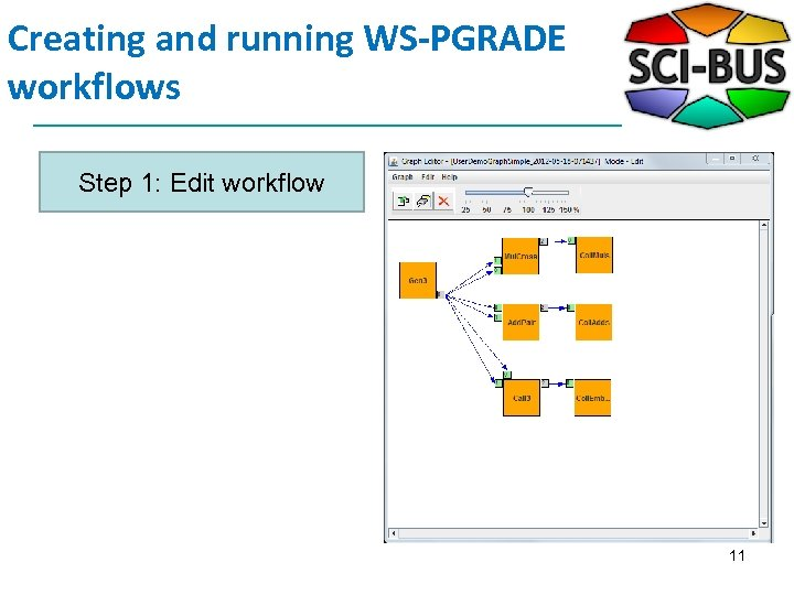 Creating and running WS-PGRADE workflows Step 1: Edit workflow 11