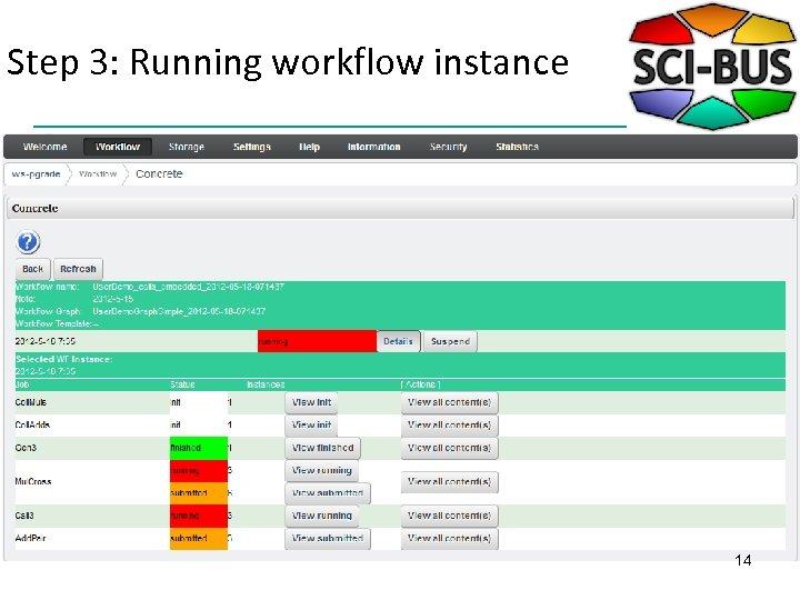 Step 3: Running workflow instance 14