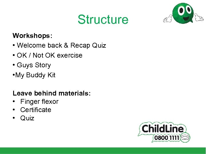 Structure Workshops: • Welcome back & Recap Quiz • OK / Not OK exercise