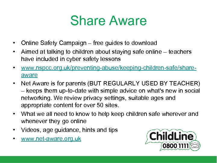 Share Aware • Online Safety Campaign – free guides to download • Aimed at