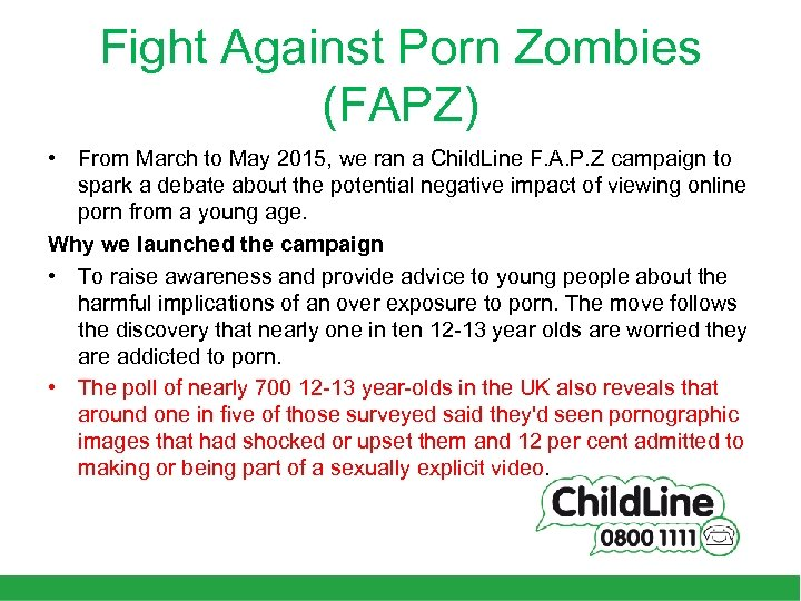 Fight Against Porn Zombies (FAPZ) • From March to May 2015, we ran a