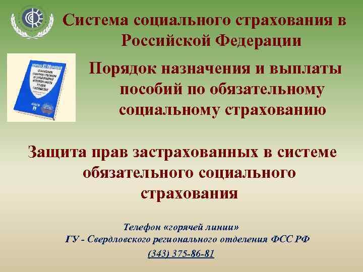 Система социального страхования в Российской Федерации Порядок назначения и выплаты пособий по обязательному социальному