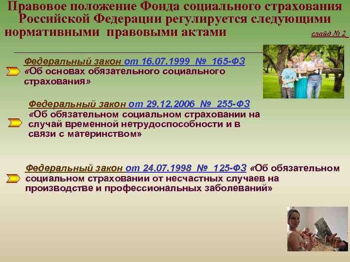 Правовое положение Фонда социального страхования Российской Федерации регулируется следующими нормативными правовыми актами слайд №