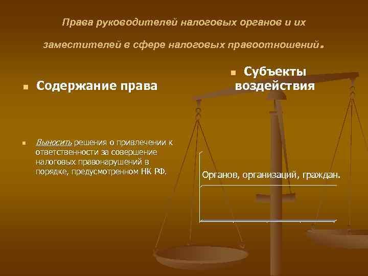 Права руководителей налоговых органов и их . заместителей в сфере налоговых правоотношений Субъекты воздействия