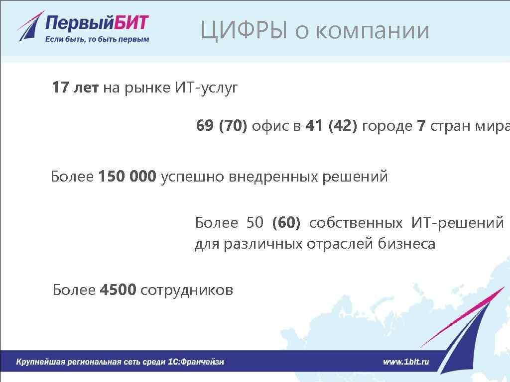 ЦИФРЫ о компании 17 лет на рынке ИТ-услуг 69 (70) офис в 41 (42)