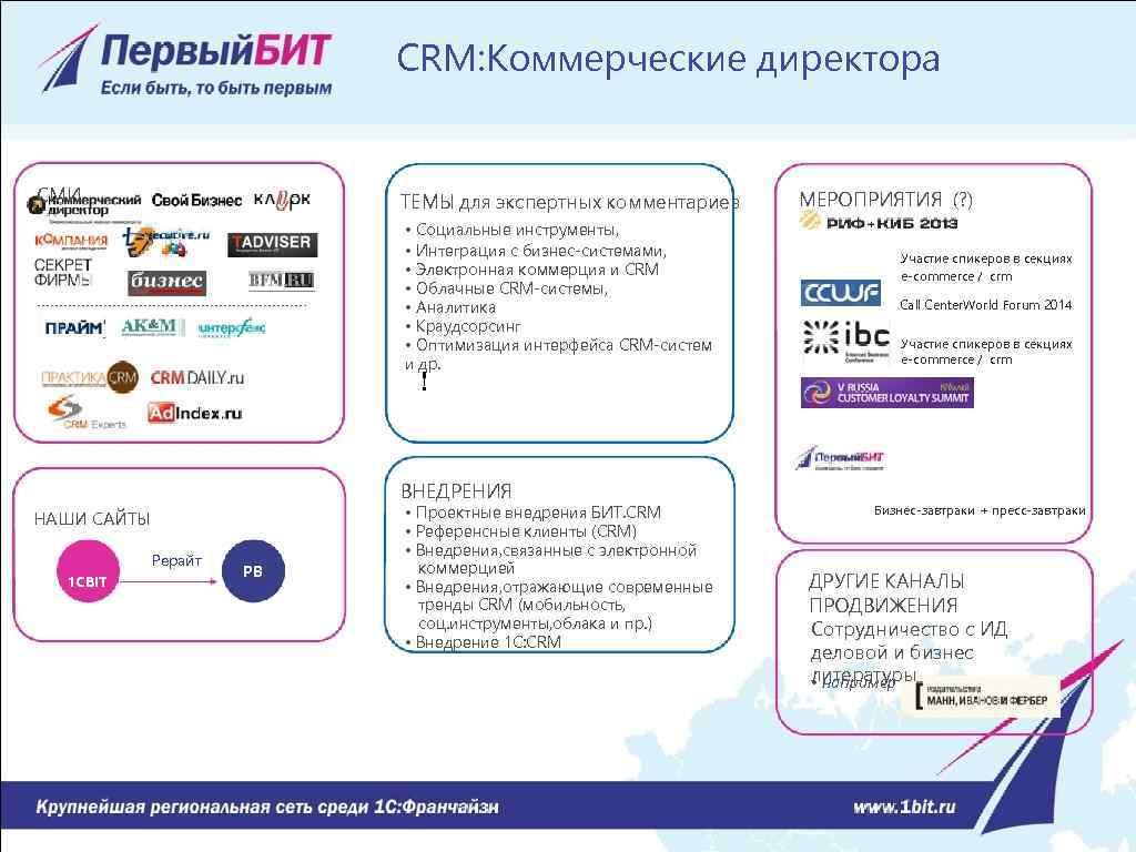 CRM: Коммерческие директора СМИ ТЕМЫ для экспертных комментариев • Социальные инструменты, • Интеграция с