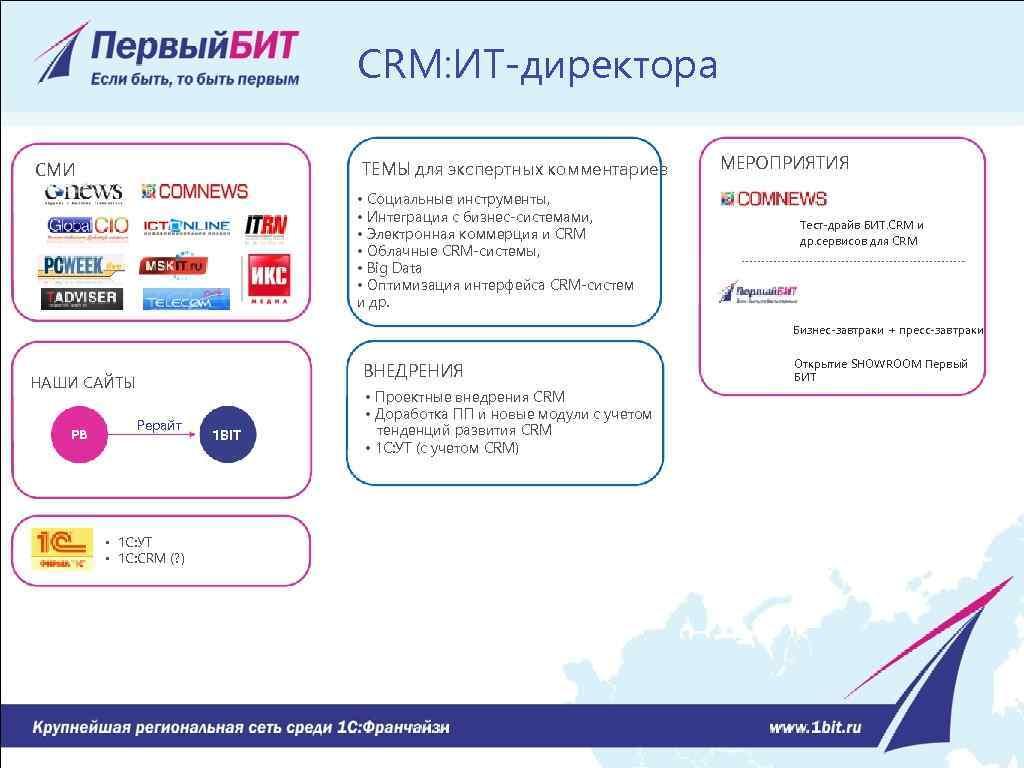 CRM: ИТ-директора ТЕМЫ для экспертных комментариев СМИ • Социальные инструменты, • Интеграция с бизнес-системами,