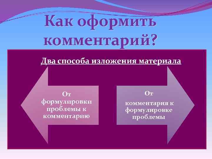 Как оформить комментарий? ü Автор раскрывает проблему на примере… ü В центре внимания автора…