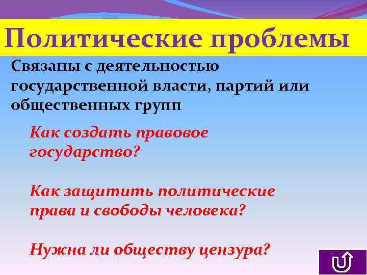 Политические проблемы Связаны с деятельностью государственной власти, партий или общественных групп Как создать правовое