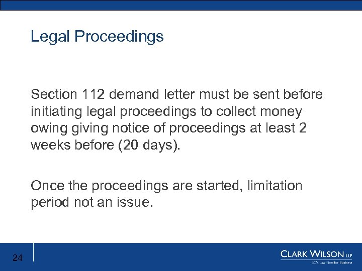 Legal Proceedings Section 112 demand letter must be sent before initiating legal proceedings to