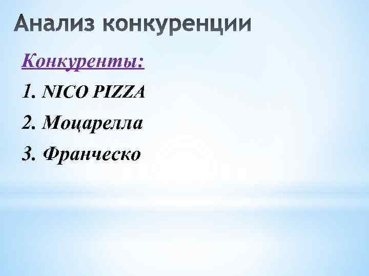 Конкуренты: 1. NICO PIZZA 2. Моцарелла 3. Франческо