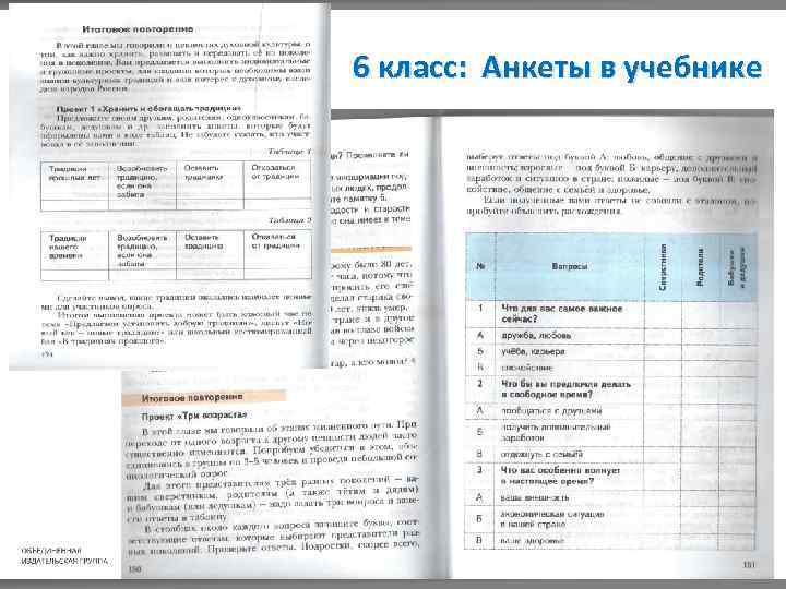 6 класс: Анкеты в учебнике