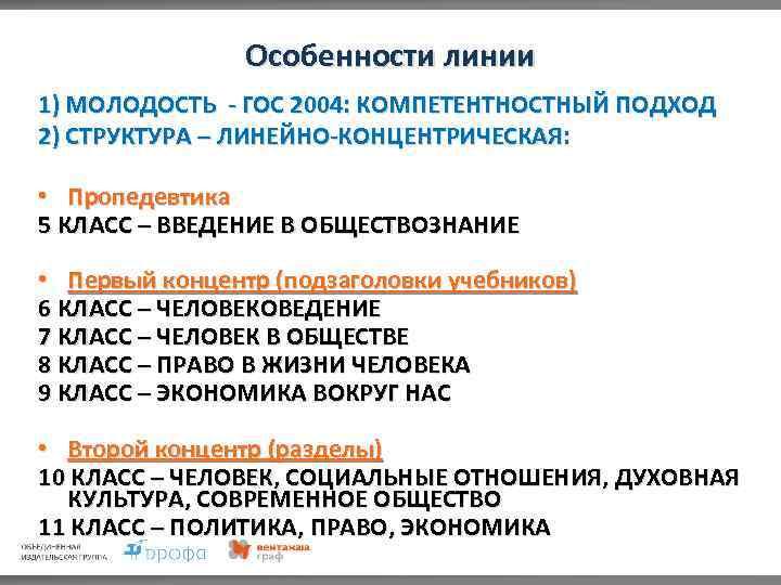 Особенности линии 1) МОЛОДОСТЬ - ГОС 2004: КОМПЕТЕНТНОСТНЫЙ ПОДХОД 2) СТРУКТУРА – ЛИНЕЙНО-КОНЦЕНТРИЧЕСКАЯ: •