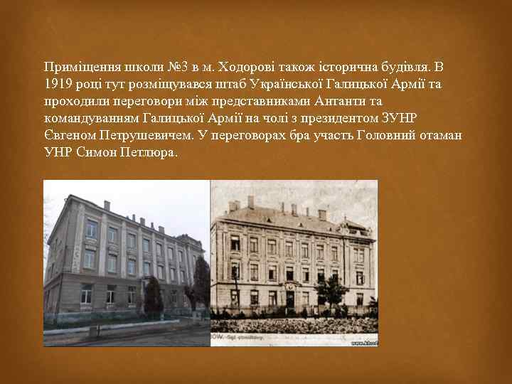 Приміщення школи № 3 в м. Ходорові також історична будівля. В 1919 році тут