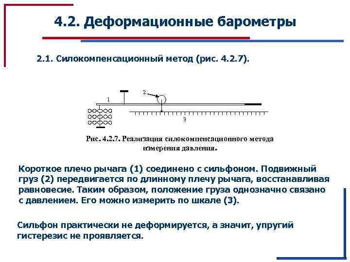 4. 2. Деформационные барометры 2. 1. Силокомпенсационный метод (рис. 4. 2. 7). 2 1