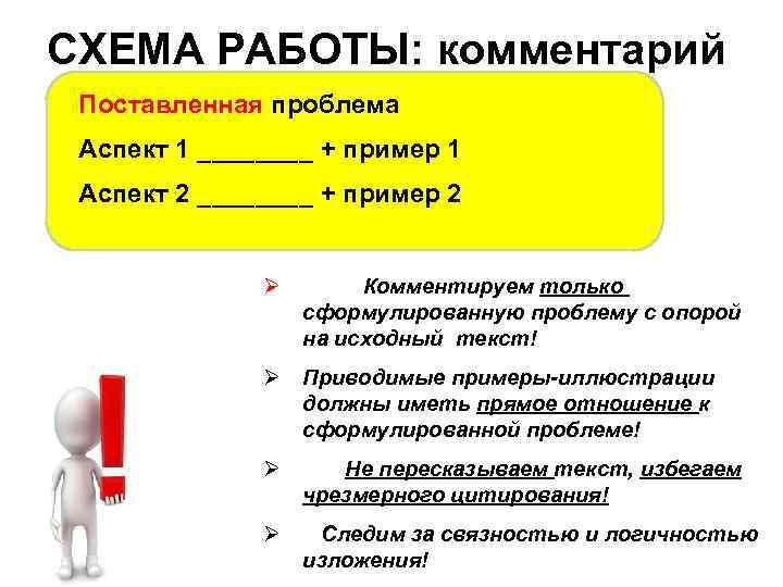 СХЕМА РАБОТЫ: комментарий Поставленная проблема Аспект 1 ____ + пример 1 Аспект 2 ____