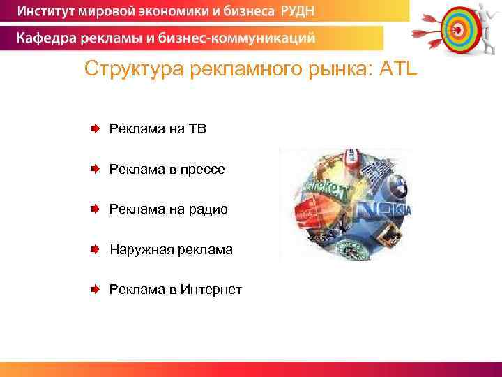 Структура рекламного рынка: ATL Реклама на ТВ Реклама в прессе Реклама на радио Наружная