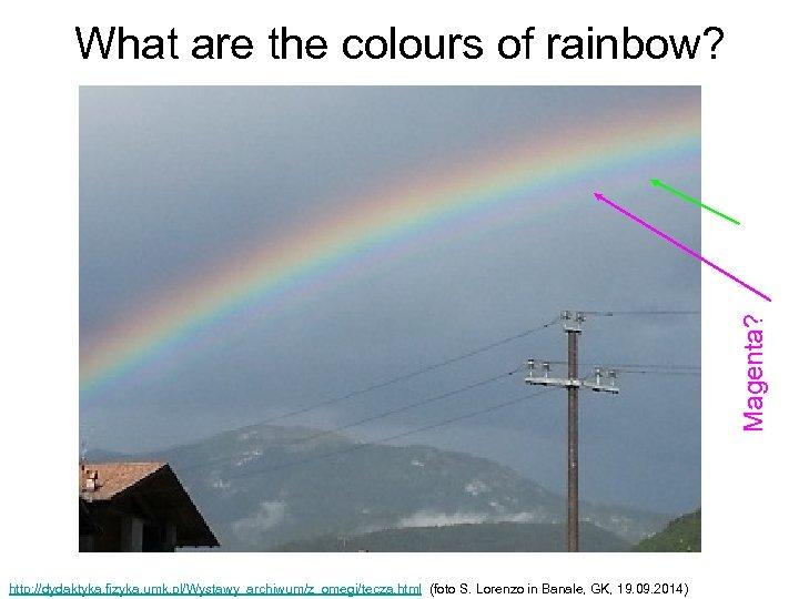 Magenta? What are the colours of rainbow? http: //dydaktyka. fizyka. umk. pl/Wystawy_archiwum/z_omegi/tecza. html (foto