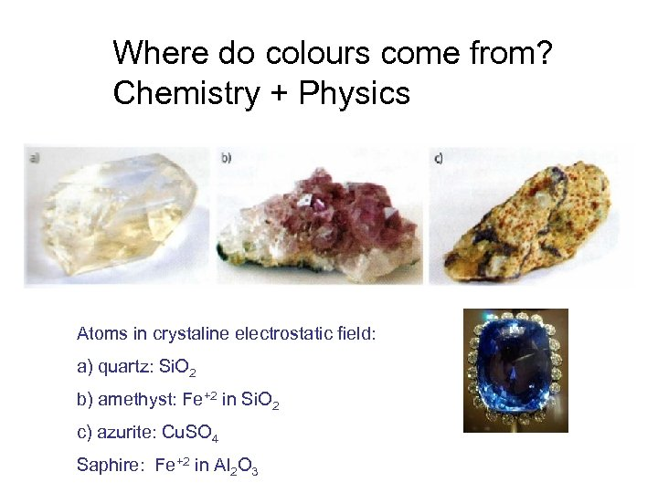 Where do colours come from? Chemistry + Physics Atoms in crystaline electrostatic field: a)