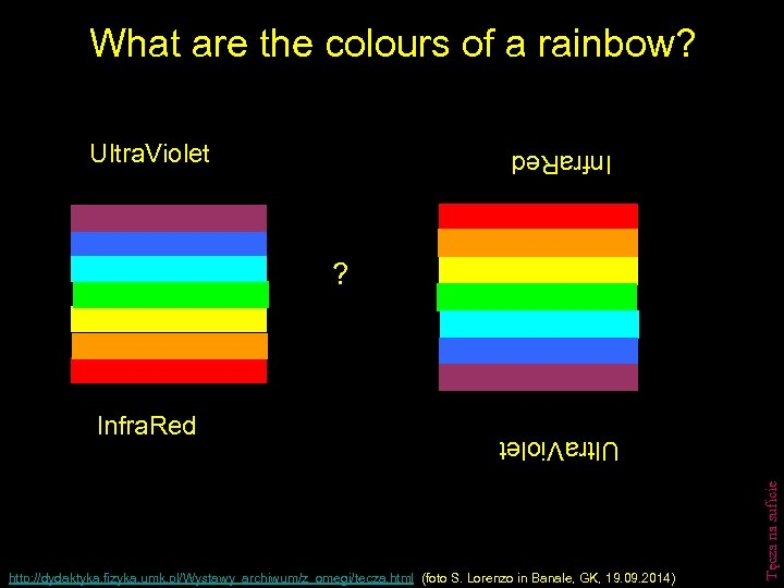 What are the colours of a rainbow? Ultra. Violet Infra. Red ? http: //dydaktyka.