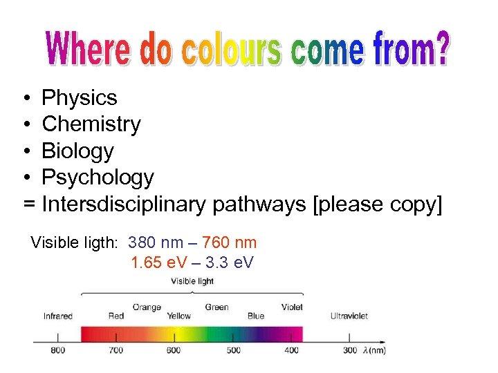 • Physics • Chemistry • Biology • Psychology = Intersdisciplinary pathways [please copy]