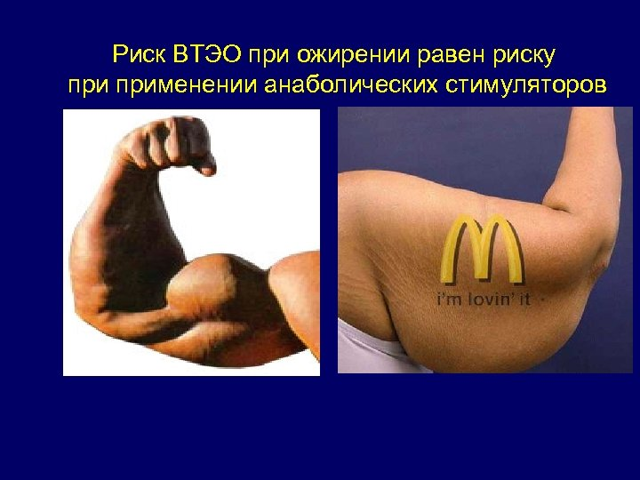 Риск ВТЭО при ожирении равен риску применении анаболических стимуляторов