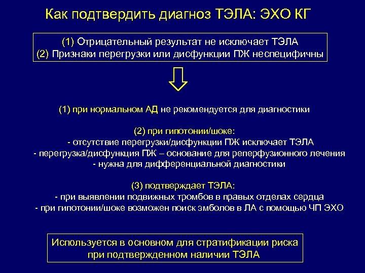 Как подтвердить диагноз ТЭЛА: ЭХО КГ (1) Отрицательный результат не исключает ТЭЛА (2) Признаки