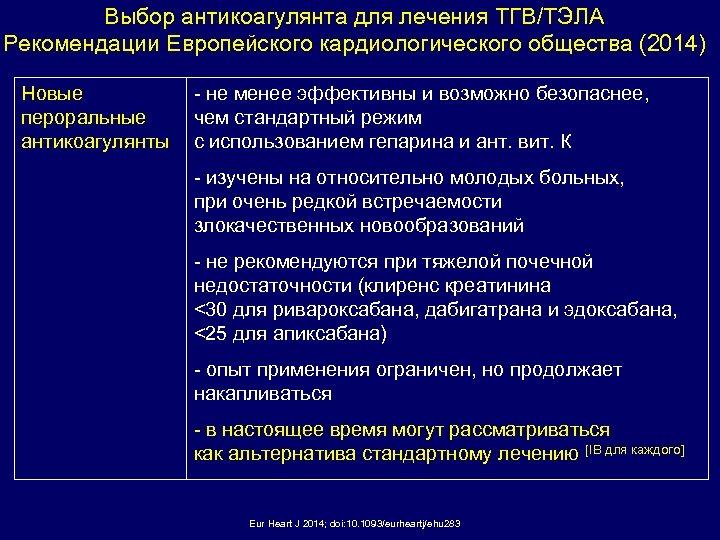Выбор антикоагулянта для лечения ТГВ/ТЭЛА Рекомендации Европейского кардиологического общества (2014) Новые пероральные антикоагулянты -